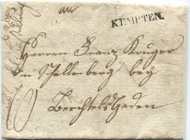 Briefe aus der Vormarkenzeit aus - nach und über Salzburg Kempte10