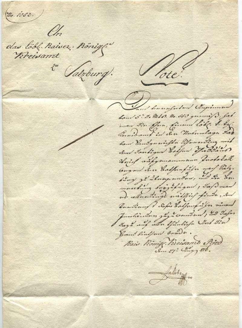 Briefe aus der Vormarkenzeit aus - nach und über Salzburg Ried-s12