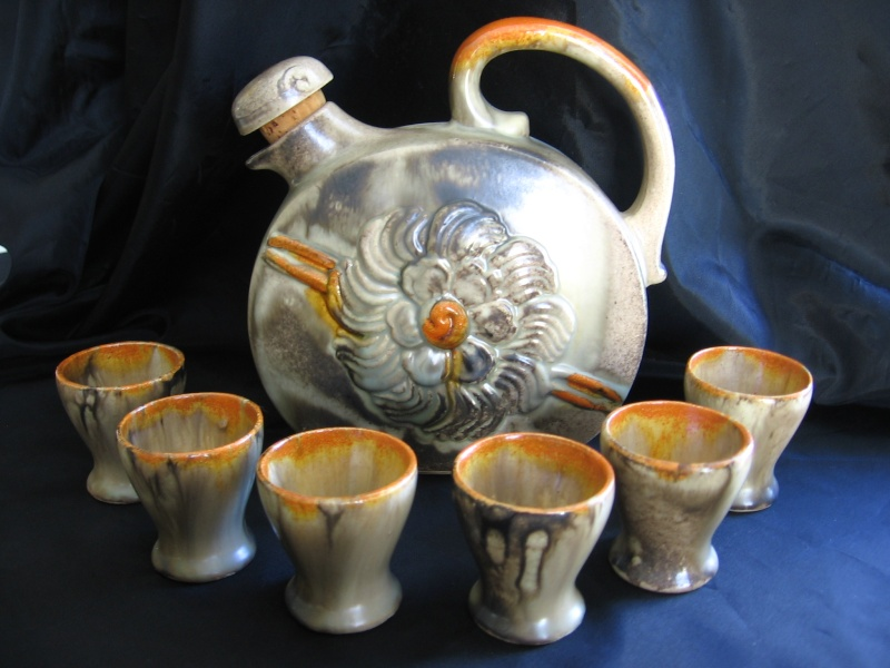 Pottery Decanter with shot glasses, no mark possibly Carstens? W_germ10