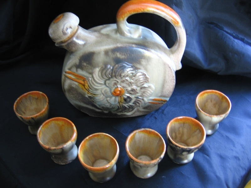 Pottery Decanter with shot glasses, no mark possibly Carstens? W_germ12