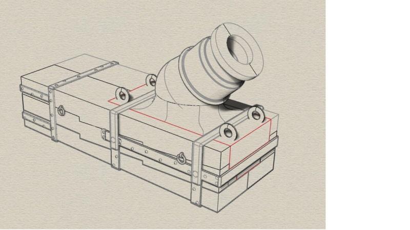 """Réalisation des mortiers de 12 à plaque pour """"La Salamandre"""" 1752. Vue_rh11"""
