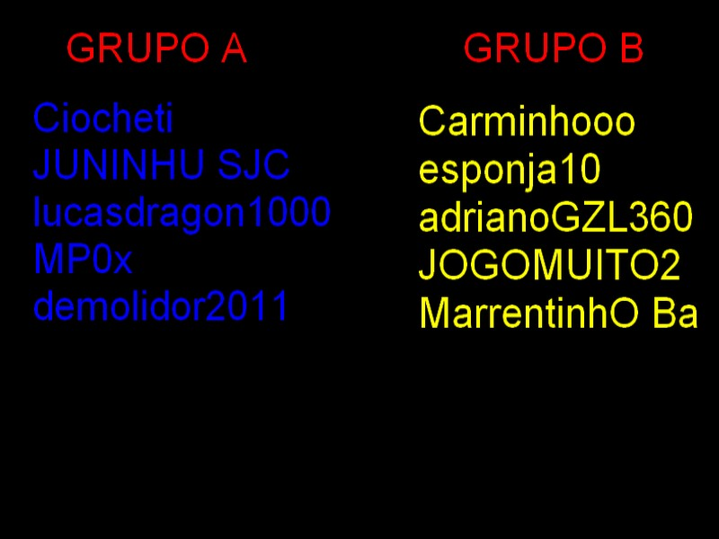 Sorteio dos Times/Grupos/Dados Friends League Grupos10