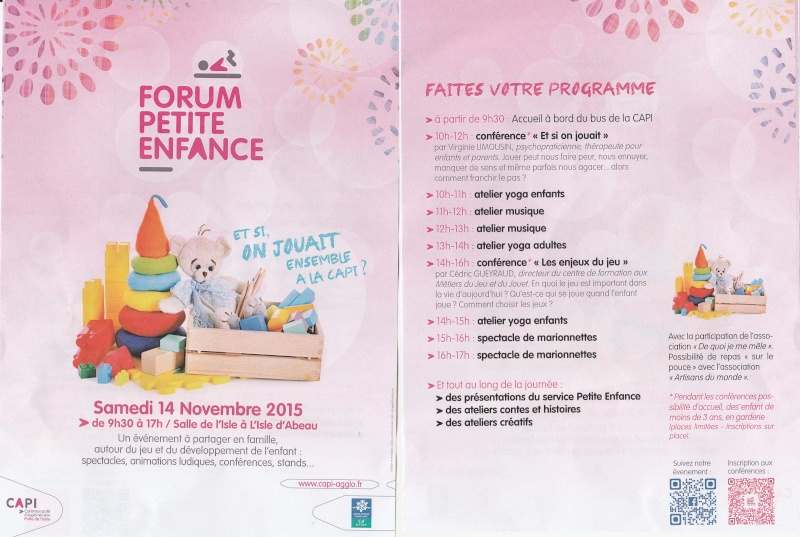 Forum Petite Enfance - samedi 14 novembre - L'Isle d'Abeau - programme Forum_10