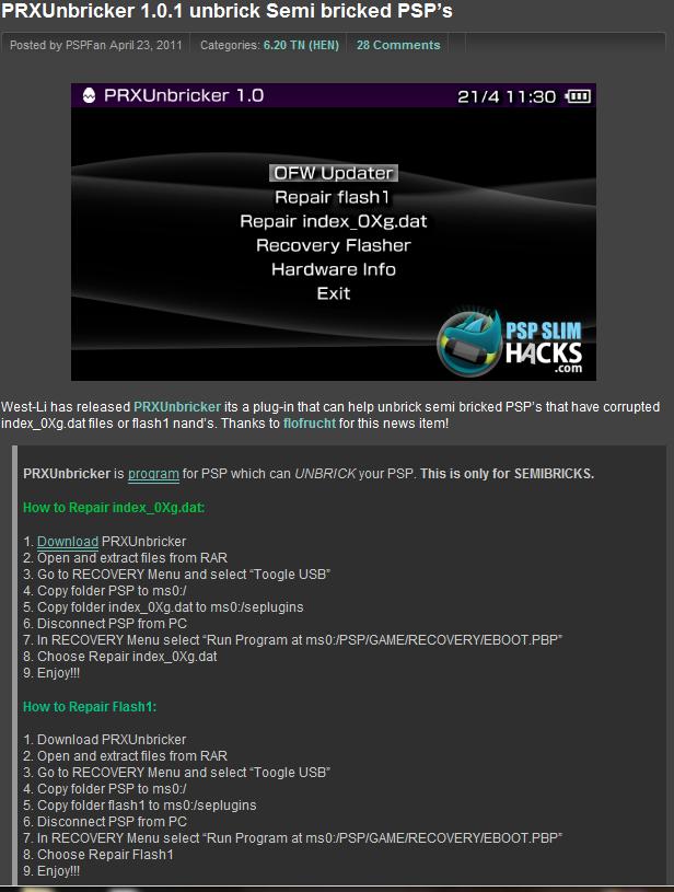 PRXUnbricker 1.0.1 unbrick Semi bricked PSP's Prx10