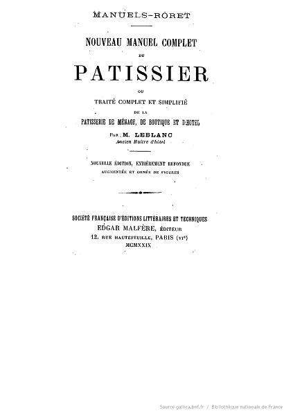 Ouvrages anciens :  Les livres de cuisine  Patiss10