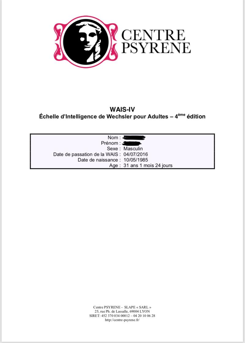 Mon test Wais4 , TDAH suspecté et évolution dans la phase de diagnostic et traitement 15199211
