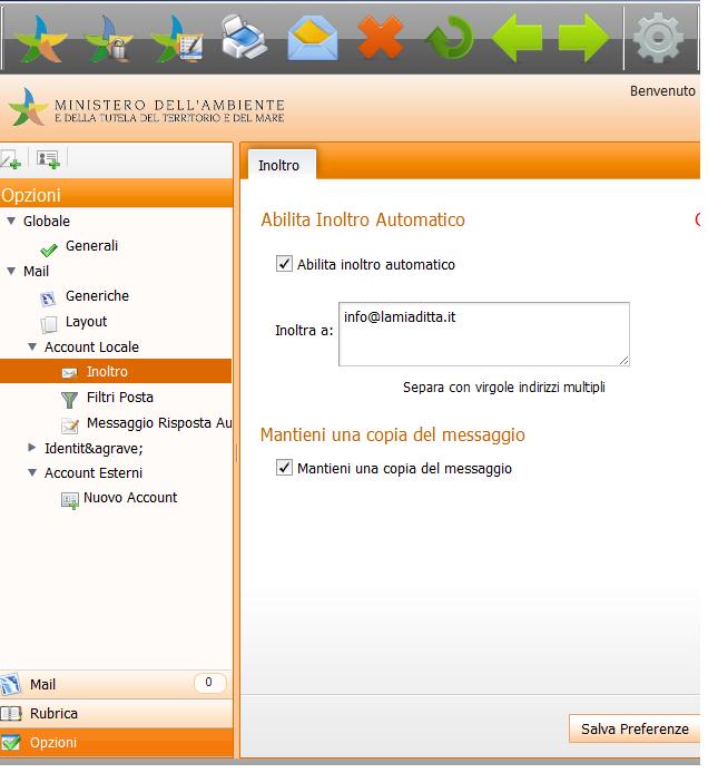 Configurare Outlook per l'email SISTRI Sistri11