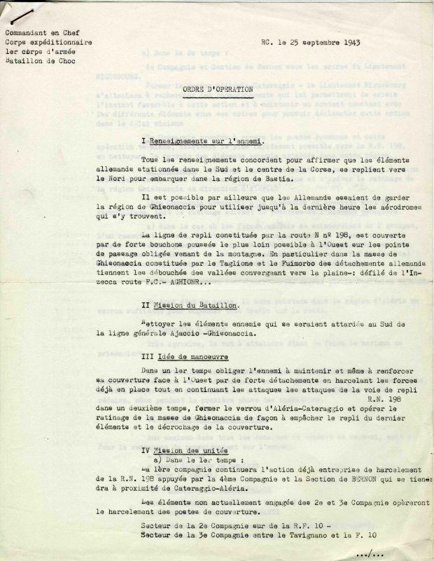 Ordre d'opération pour la Corse 25/09/43 Choc0016