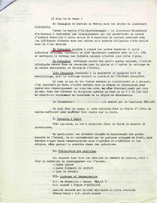 Ordre d'opération pour la Corse 25/09/43 Choc0017