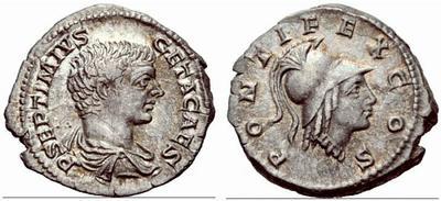 Denier de Geta au buste Minerve 49917110