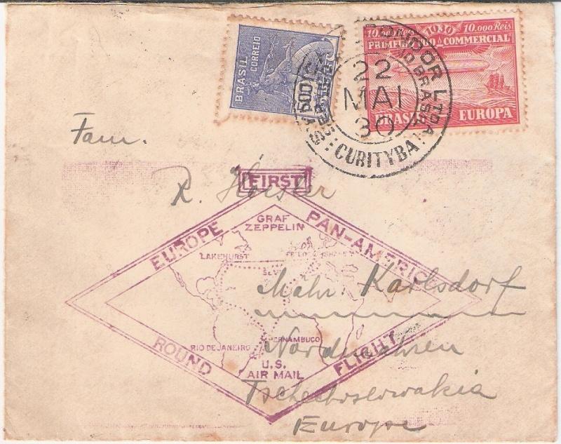 """nach - Südamerikafahrt 1930 (Rundfahrt-) Post nach Friedrichshafen"""" - Seite 6 Curity10"""
