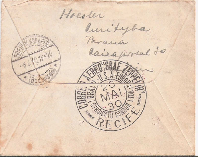 """nach - Südamerikafahrt 1930 (Rundfahrt-) Post nach Friedrichshafen"""" - Seite 6 Curity11"""