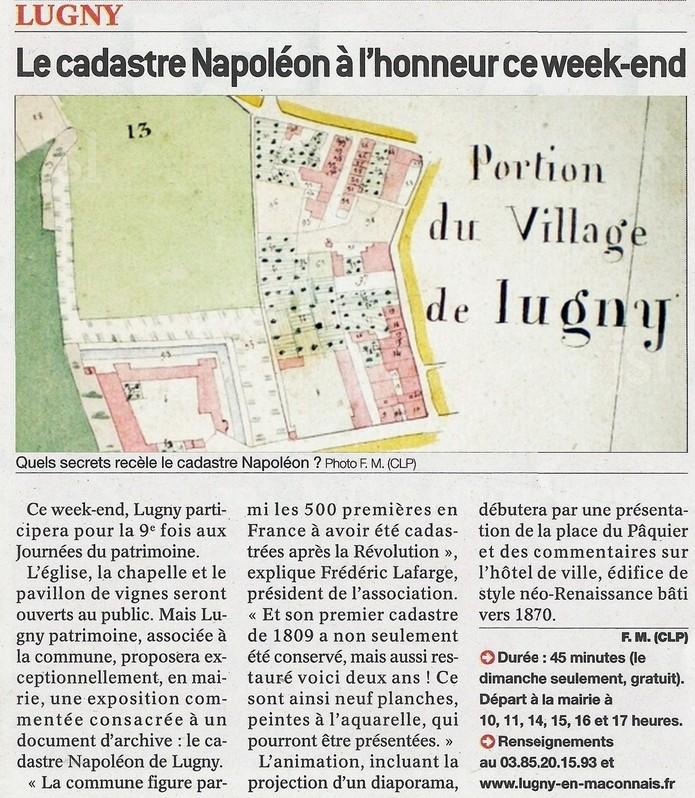 LUGNY Le cadastre Napoléon sort des vieux tiroirs ce week-end de JEP 2015 _le_ca10