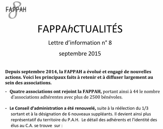 FAPPAhCTUALITÉS Lettre d'information n° 8 septembre 2015 RDB RR Info_810