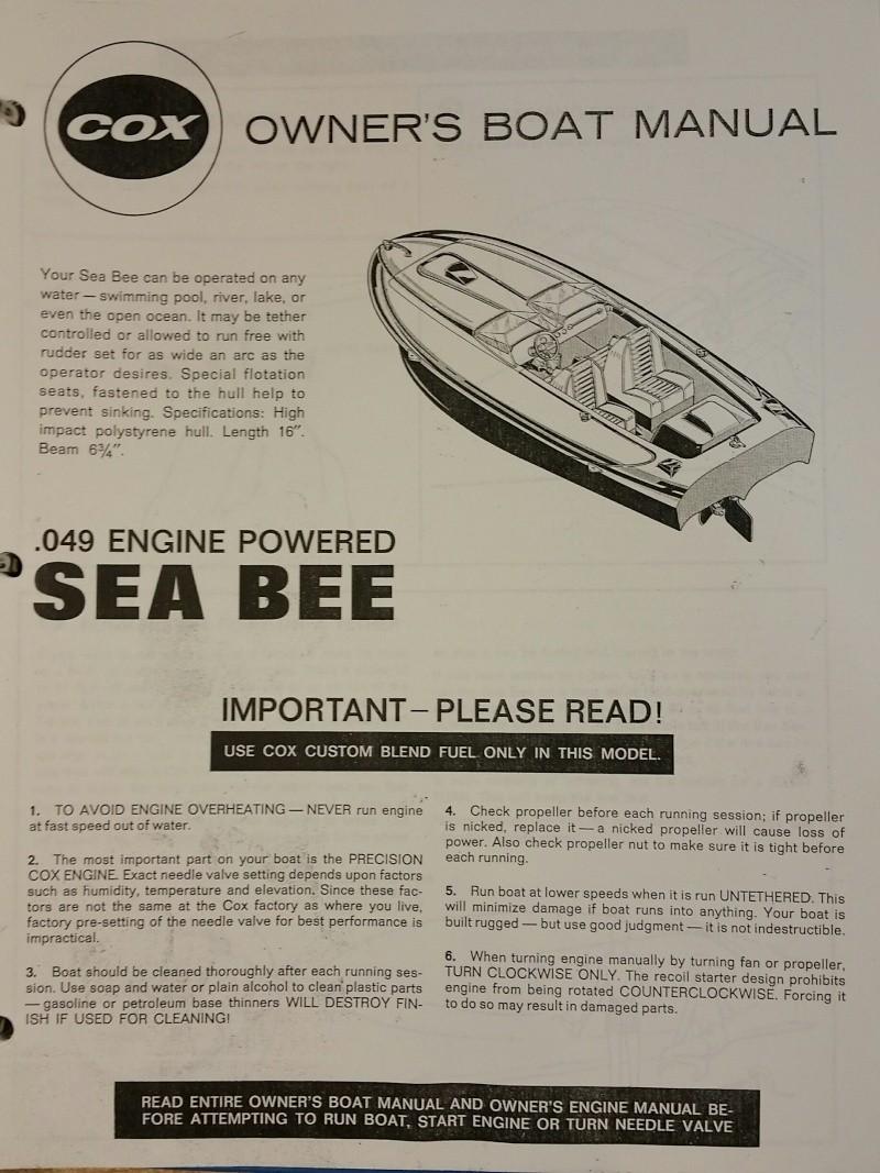 Need Cox Sea Bee instruction sheet 20151010