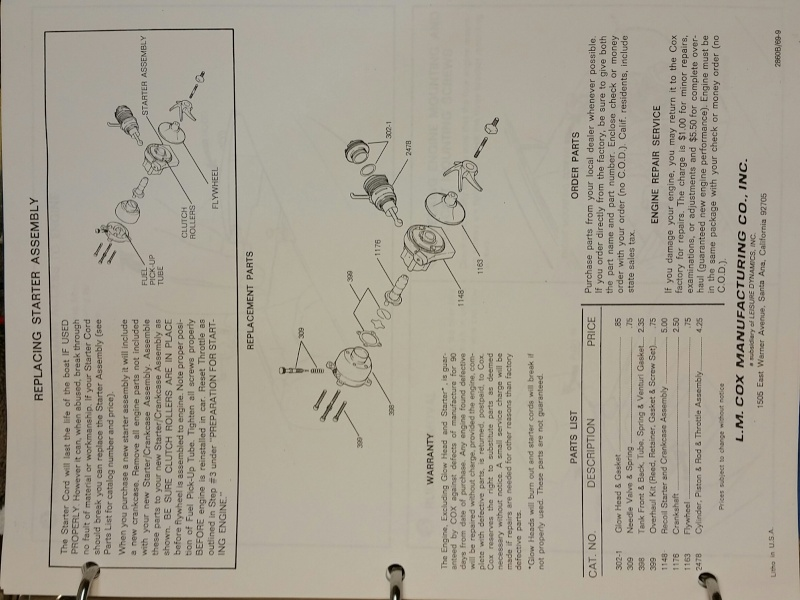 Need Cox Sea Bee instruction sheet 20151013