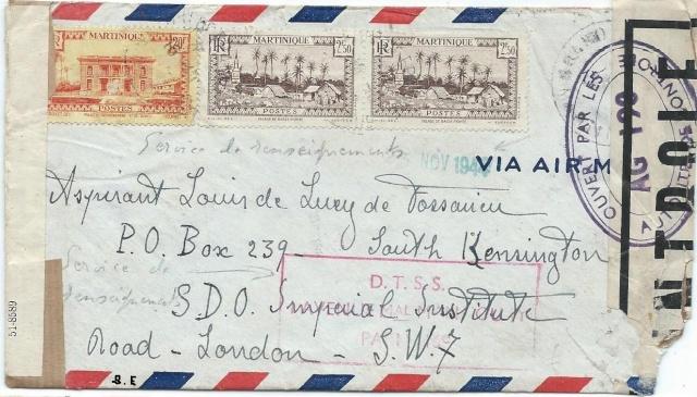 Nouvelle censure AG 190 vu sur une lettre de la Martinique pour Londres. Martin10
