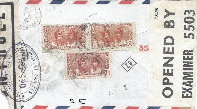 Nouvelle censure AG 190 vu sur une lettre de la Martinique pour Londres. Martin11