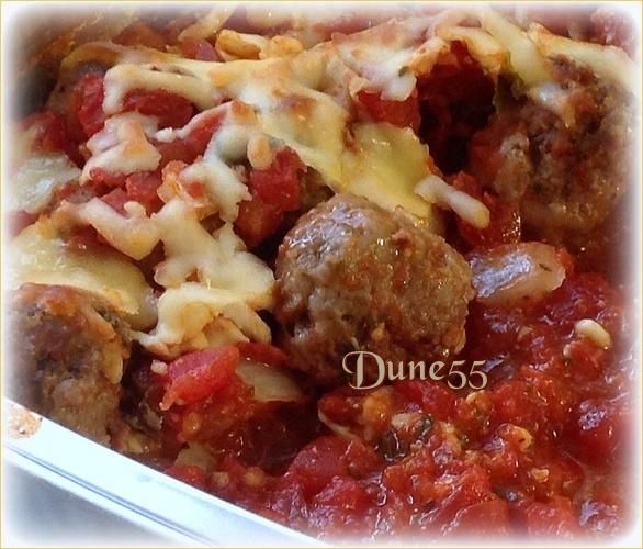Gratin de boulettes de viande, sauce tomate et mozzarella Idcevn10