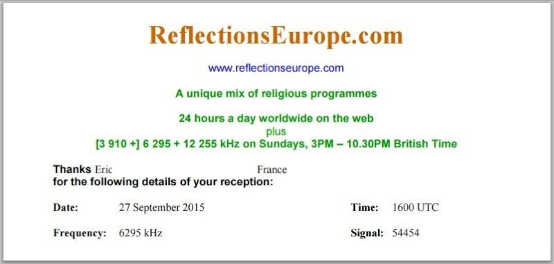 email de Radio Réflexions europe 110