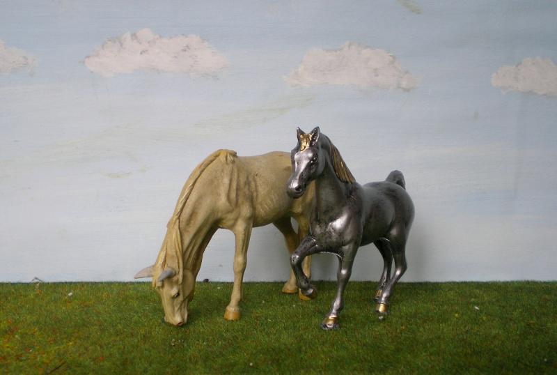 Bemalungen, Umbauten, Modellierungen - neue Tiere für meine Dioramen Pferde11