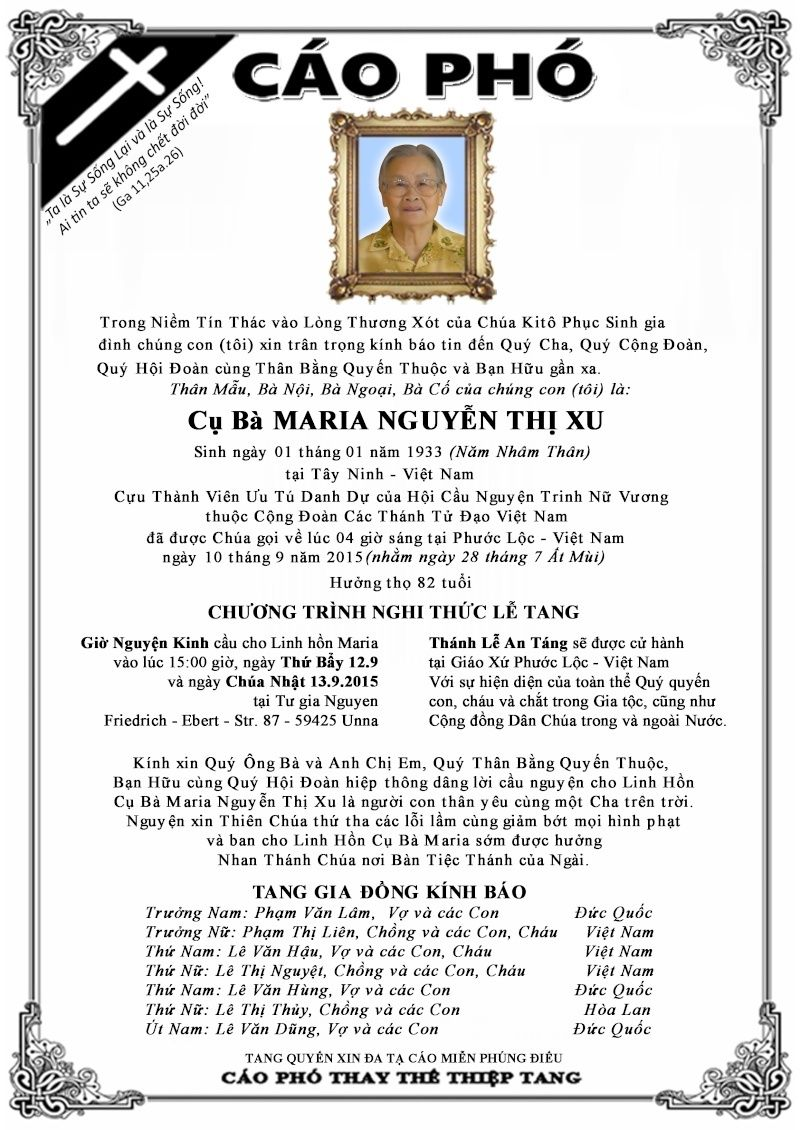 CÁO PHÓ Xin Cầu Cho Linh Hồn Cụ Bà Maria Nguyễn Thị Xu Caopho10