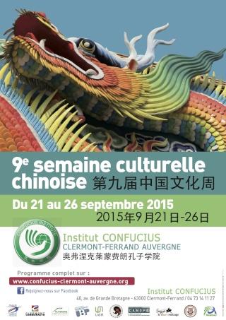 Clermont-Ferrand : 9e  semaine culturelle chinoise, organisée par l'Institut Confucius Clermont-Ferrand Auvergne Affich10