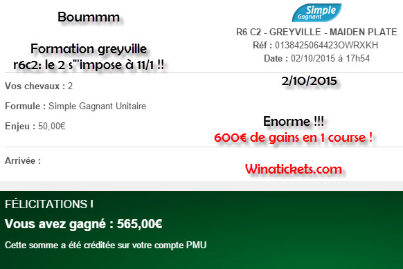 Compte Pmu De Mr Serge Goichon. 02-10-12
