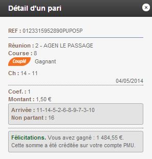 Compte Pmu De Mr Serge Goichon. 04-05-11