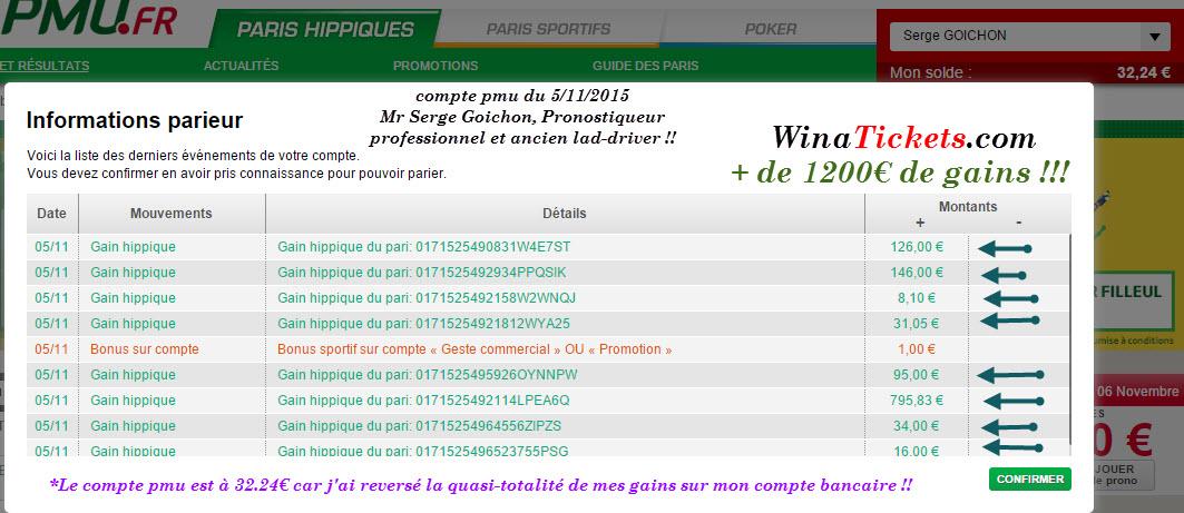 Compte Pmu De Mr Serge Goichon. 06-11-11