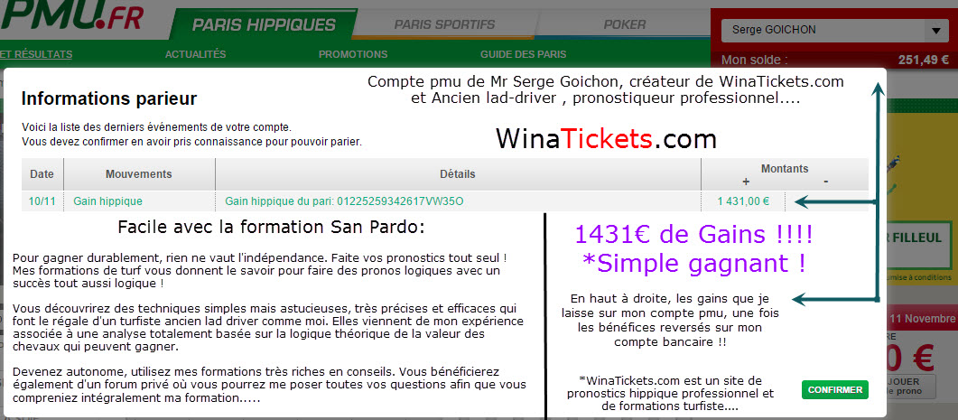 Compte Pmu De Mr Serge Goichon. 11-11-10