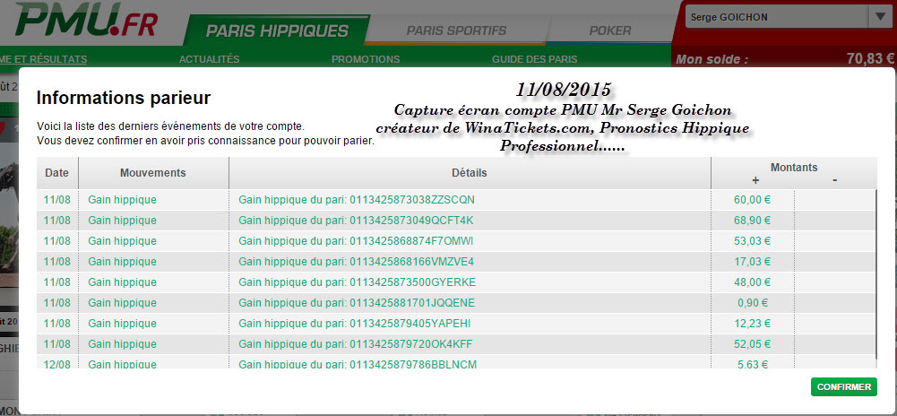 Compte Pmu De Mr Serge Goichon. 12-08-12