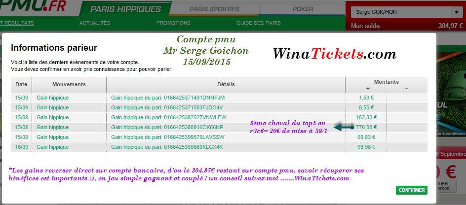 Compte Pmu De Mr Serge Goichon. 15091511