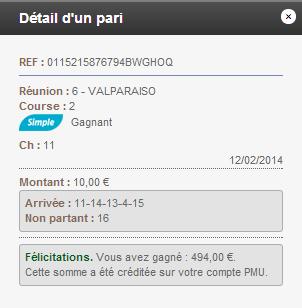 Compte Pmu De Mr Serge Goichon. 2014-011
