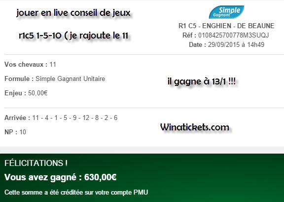 Compte Pmu De Mr Serge Goichon. 29-09-10