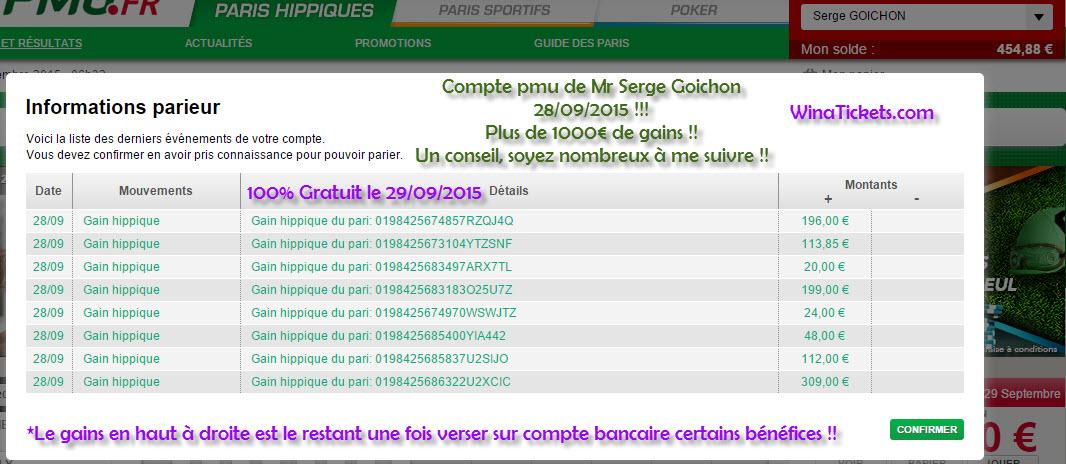 Compte Pmu De Mr Serge Goichon. Pub211
