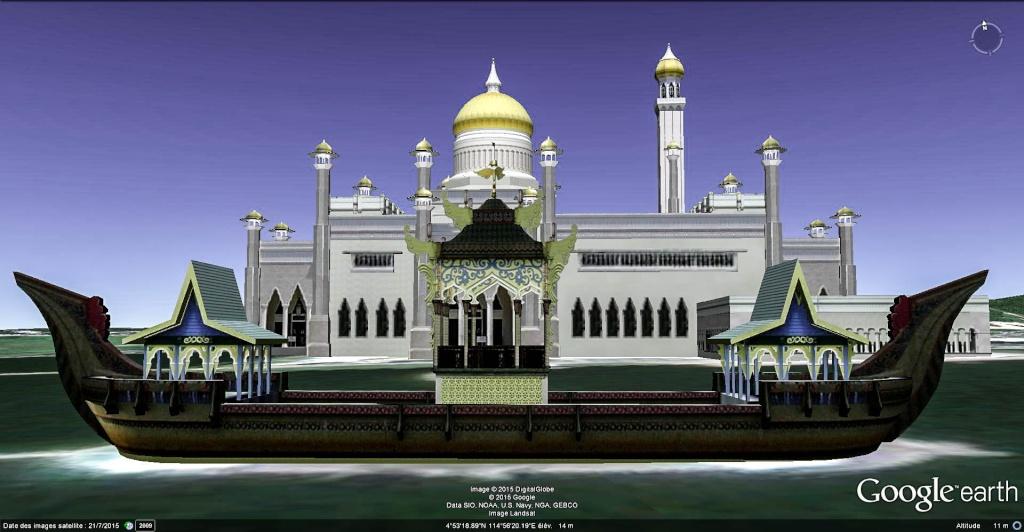La mosquée Omar Ali Saifuddin à Bandar Seri Begawan, Sultanat de Brunei.  Sultan11