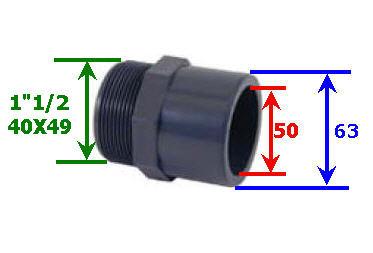 PVC de 50mm dimensions, conseils Embout10