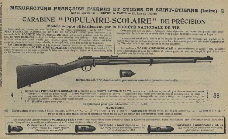 Carabine scolaire Societe Nationale de Tir (MAS) Popula11