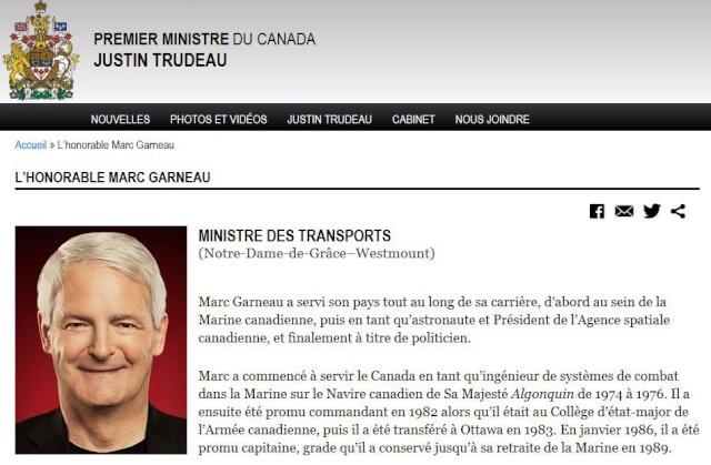 Marc Garneau devient Ministre des Transports du gouvernement canadien Captur13