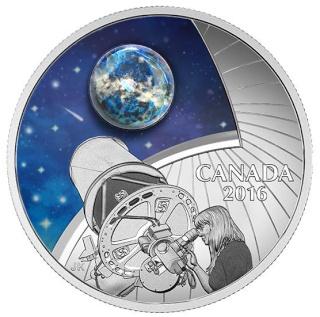 Canada : Emission d'une pièce en argent photoluminescente avec opale - Observatoire astronomique Piece_13