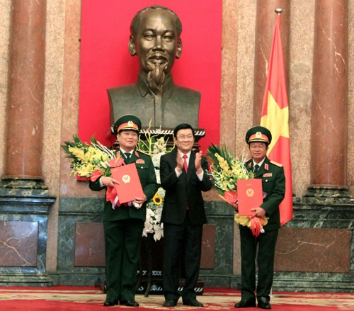 Công bố, trao Quyết định thăng quân hàm Đại tướng cho đồng chí Ngô Xuân Lịch và đồng chí Đỗ Bá Tỵ 05101511