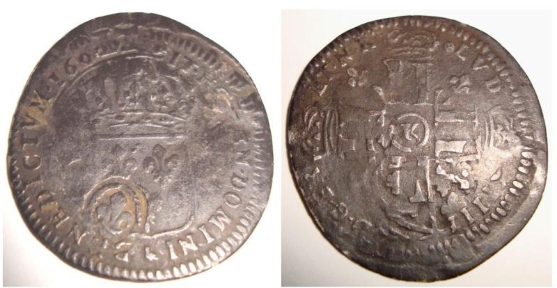 Quinzain sur flan ancien contremarque lys Louis XIV 1692 K ? ... Inédit ? Mwsnap10