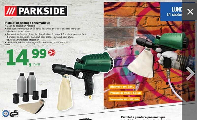 pistolet de sablage pneumatique parkside chez lidl. Black Bedroom Furniture Sets. Home Design Ideas