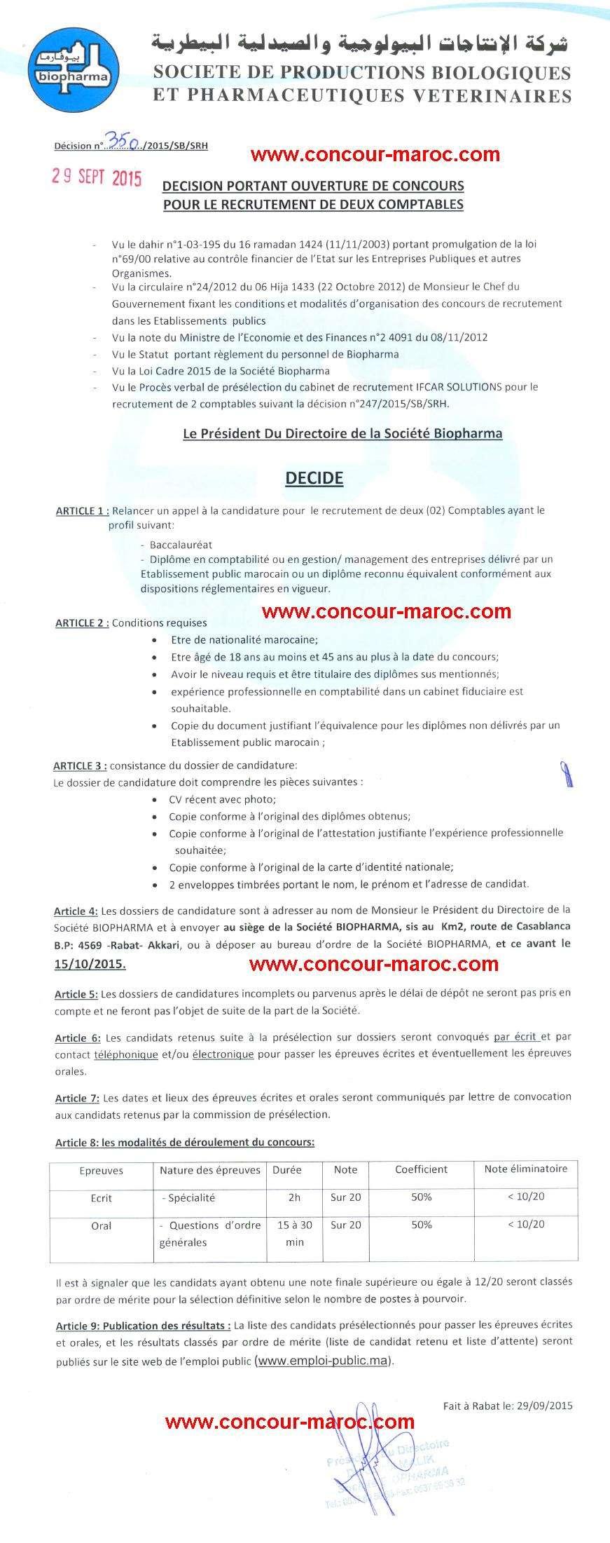 شركة الإنتاجات البيولوجية والصيدلية البيطرية (بيوفارما) : مباراة لتوظيف محاسب (2 منصبان) آخر أجل لإيداع الترشيحات 15 اكتوبر 2015 Concou47