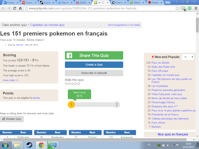 QUIZZ: Les 151 premiers pokémon en français !! Ahahah10