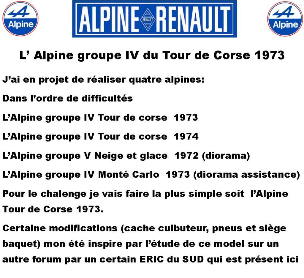 Fil rouge 2021 * Alpine A110 Groupe IV Tour de Corse 1973  1/24 Heller 80745  0114
