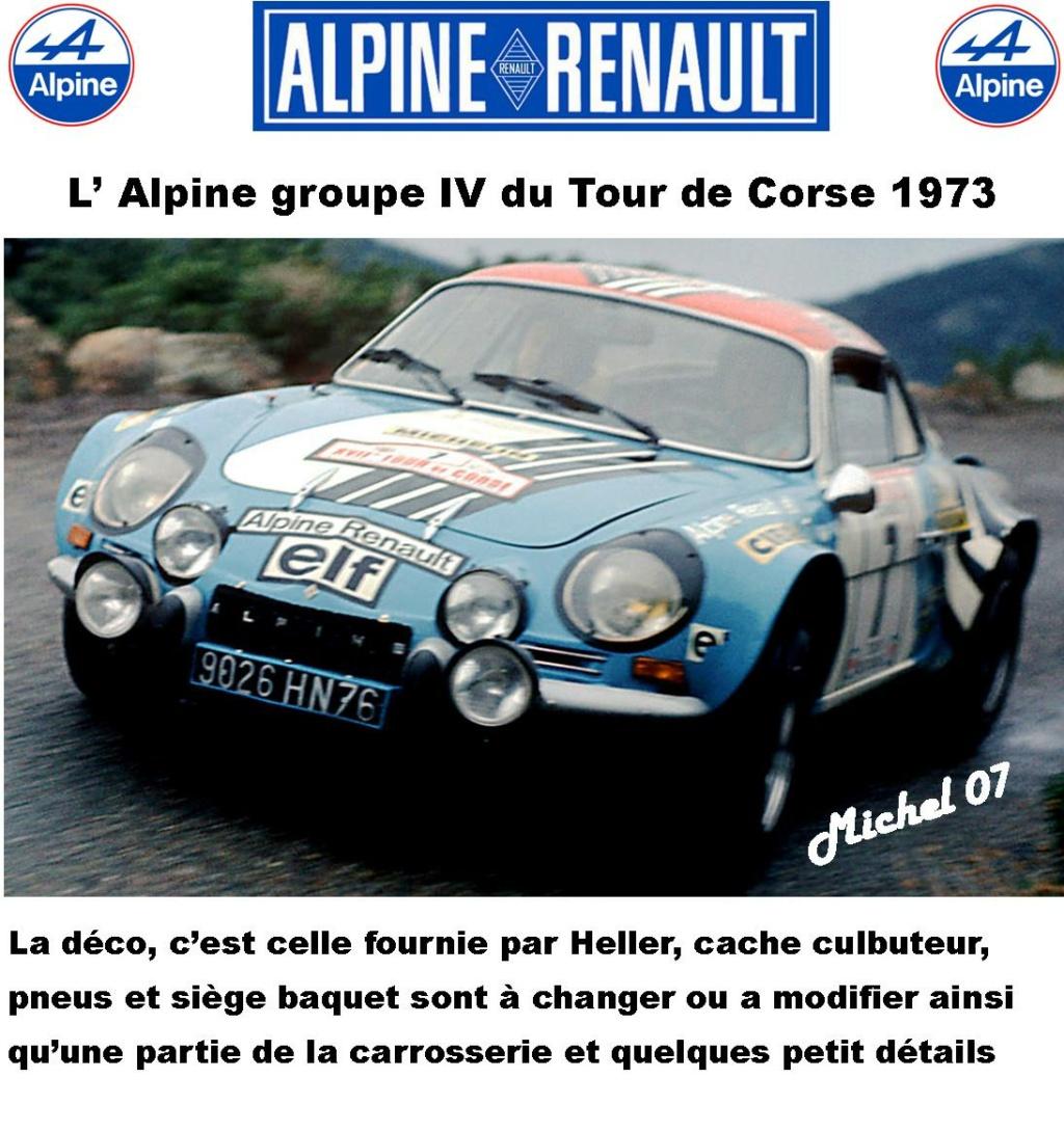 Fil rouge 2021 * Alpine A110 Groupe IV Tour de Corse 1973  1/24 Heller 80745  0212