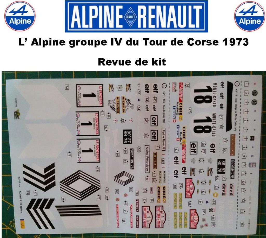 Fil rouge 2021 * Alpine A110 Groupe IV Tour de Corse 1973  1/24 Heller 80745  0912