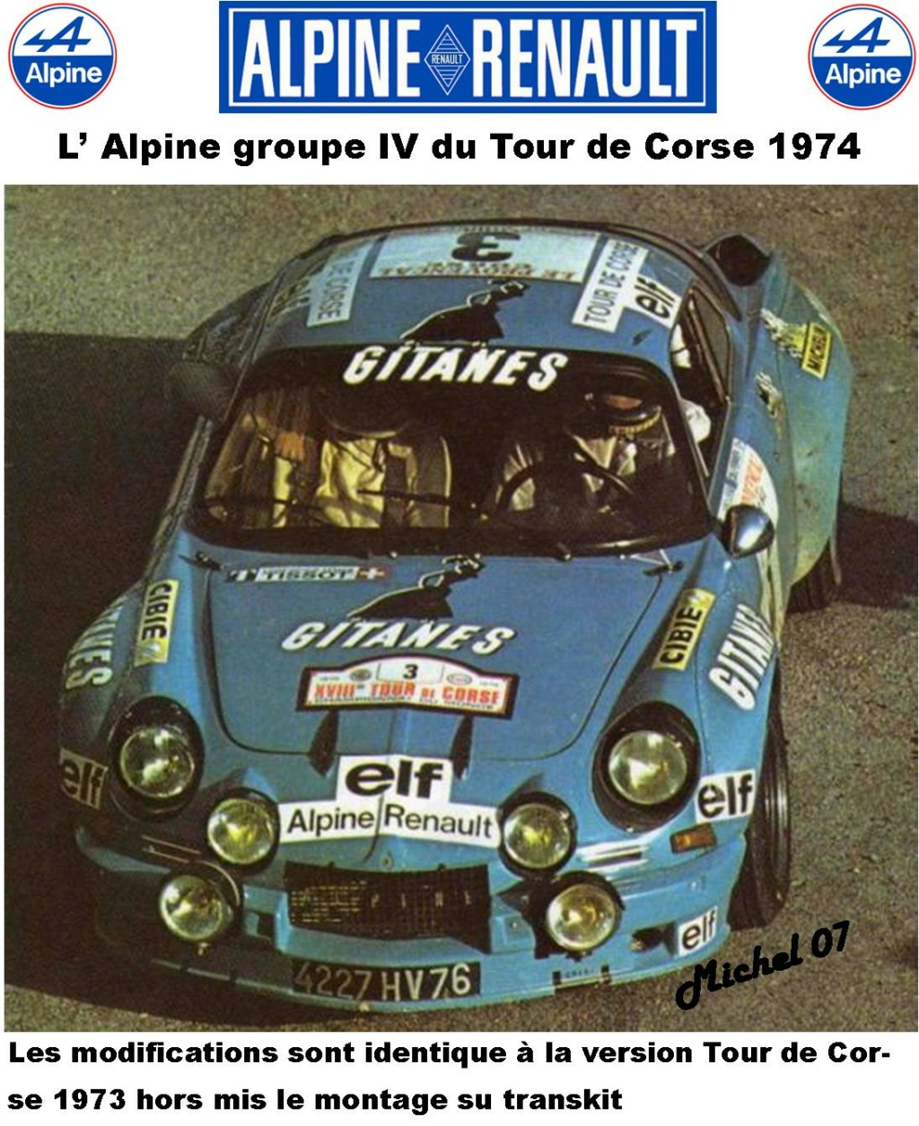 Fil rouge 2021 * Alpine A110 Groupe IV Tour de Corse 1974 1/24 Heller 80745 + transkit 116